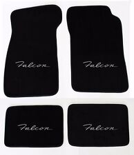 NEW! Black Carpet Floor Mats 1966-1970 Falcon Embroidered Script Logo Silver All