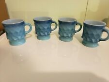 Fire King Anchor Hocking Set 4 Blue Diamond Kimberly Mugs Cups vintage