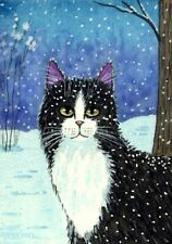 ACEO Original Watercolor Painting Cat in winter 2