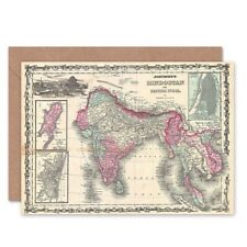 1862 Johnson Map India And Southeast Asia Bday Blank Greeting Card With Envelope