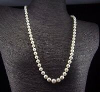Classic Gold 585 Estate 9.5mm-5.5mm Akoya Pearl Strand Necklace 14k Flower Clasp