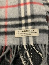 Burberry Cashmere Scarf Pewter Gray,Red,Black, And Off White. 54 x 12 100% Auth.