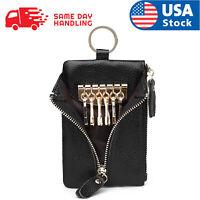 Genuine Leather Car Key Chain Ring Keys Holder Pouch Case Wallet Organizer Bag