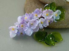 HANDMADE SRA Lampwork Glass Bead Set Lilacs Pale Purple Lavender