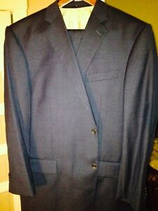 Handmade in England 100% wool tick weave suits 1 gray 1 blue with custom lining