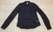 Aeropostale Long Sleeve Lace Button Down Shirt, Navy Blue ▪Size Small