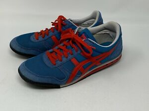Asics Onitsuka Tiger Womens Size 9.5 Shoes Lace Up Red and Blue Retro Old School