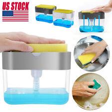 2-in-1 Sponge Rack And Soap Pump Dispenser Sponge Caddy For Dish Soap And Sponge