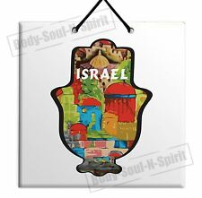 Art Vintage Jerusalem Hamsa Wooden wall hanging Art Chamsa Plaque tile
