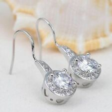 1 ct Round Simulated Diamond Women's Hook Drop Earrings in 14k White Gold Plated