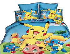Pokemon Pikachu Charmander Bedding Set Duvet Cover Pillowcase Full Size 3pcs