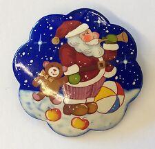 Fun!!! Hand Painted Wood Santa Claus Teddy Bear Snow Christmas Russian Brooch