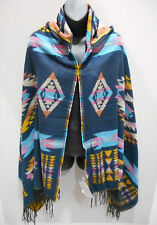 Hood Poncho Fits L XL 1X 2X 3X Plus Hoodie Cloak Cape Blue Pink Plaid NWT DC659