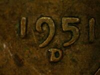 1951 D Lincoln Wheat Cent Error Doubled Mint Mark US Coin