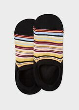 Paul Smith Mens English No Show Socks Multistripe Signature Black F599C Cotton