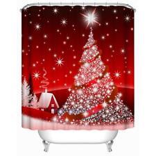 Christmas Tree 3D Digital Printing Waterproof Bathroom Shower Curtain with Hooks