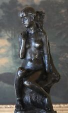 Elegant Claudel Nude Young Woman Female Bronze Marble Figure Sculpture Statue