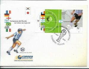 ARGENTINA 2002 SOCCER WORLD CHAMPIONS FLAGS, SOCCER PLAYER, FOOTBALL SPORTS FDC
