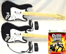 2 x NEW Wired Fender Stratocaster Guitar & Guitar Hero WORLD TOUR XBox 360 Game