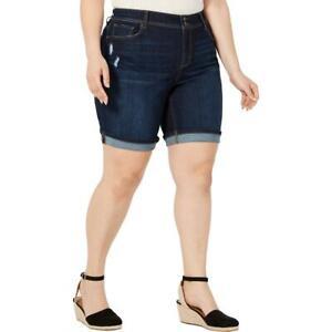 Style & Co. Womens Mid Rise Bermuda Dark Wash Denim Shorts Plus BHFO 0292