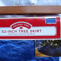 "Blue Glitter Tree Skirt Holiday Time 52""  Merry Christmas Zipper Closure XL Size"