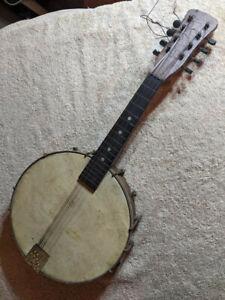 Vintage Banjo Ukulele Mandolin Musical Folk Instrument Banjolele Banjolin Ule.