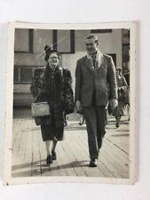 Vintage BW Real Photograph #AM: Woman Man Walking Pier? Fur Coat