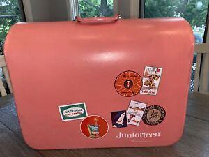 Vintage 1964 Juniorteen Garment Bag Luggage  Pink New Old Store Stock TWA Hilton
