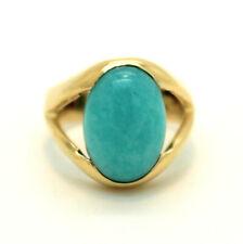 Ring mit einem Amazonit 750er 18kt Gelbgold
