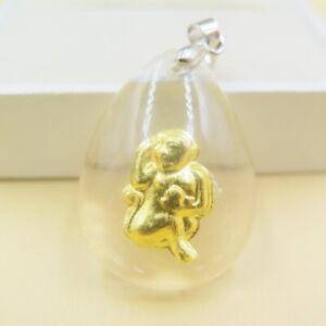 24K Yellow Gold Pendant Women Men Man-made Crystal Monkey Pendant