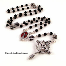 St Michael Rosary Beads Black Onyx w Italian Nail Crucifix Unbreakable Rosary