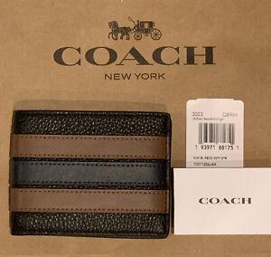 New Coach 3003 Slim Billfold Wallet Varsity Stripe Leather Black Saddle/Midnight