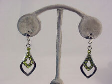 GENUINE CRYSTAL HANGING EARRING WITH SILVER #GREEN #68-A/16