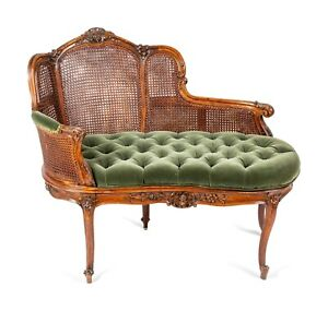 Settee, Louis XV Style Caned, Green  Tufted Upholstery, Height 33 1/2 x Width 40