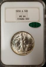 1939-S WALKING LIBERTY HALF DOLLAR - MS 64 - NGC - CAC CERTIFIED - #002