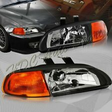For 1992-1995 Honda Civic Hatchback/Coupe Black Headlight W/Amber Reflector Lamp