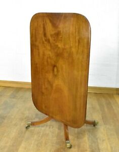 Antique regency inlaid mahogany tip up top folding pedestal dining table