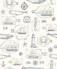 EUR 4,13/qm / Tapete Maritim Kidswalls Thomas 66254 Schiffe Fische Kompass Blau