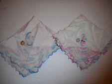 Vintage Lot of 2 Crochet Little Girl hankies
