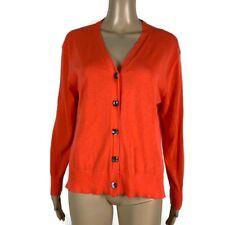 J Crew Women's Sweater Cardigan Orange Button Light Weight V Neck Size Small