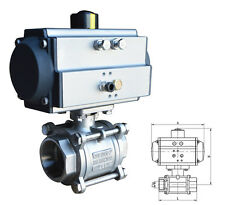 NPT 2inch 3 piece Pneumatic Actuated Ball Valve Single Acting Air Return