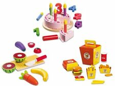 Toys Real Wood Food Game Birthday Cake Burger Fruits Chips Set Kitchen Breakfast