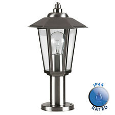 Contemporary Brushed Chrome Traditional Post Top Garden Wall Light Lantern IP44