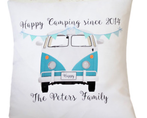 """Personalised Blue Campervan - 16"""" cushion cover shabby/vintage/wedding/gift"""