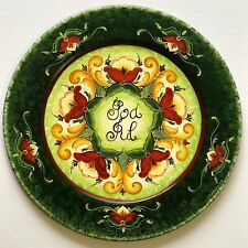 "14""Hand painted wooden plate ,  Rogaland Norwegian  Rosemaling"
