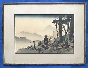 Antique Original Chinese Or Japanese Painting Men At Campfire In The Woods