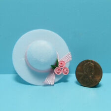 Dollhouse Miniature Ladys White Hat with Pink Roses and Ribbon IM65298