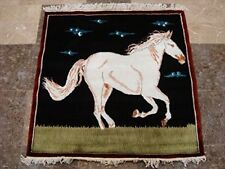 New Exclusive White Horse Oriental Hand Knotted Wool Silk Rug Carpet (3 x 3)'