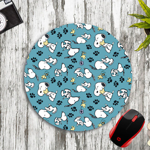 SNOOPY & WOODSTOCK COLLAGE TEAL ROUND NEOPRENE MOUSE PAD MAT HOME SCHOOL OFFICE