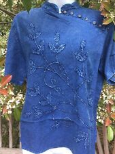 NEW Johnny Was Arges Embroidered Blouse Top Tunic Soft Citron Yellow 1X 2X